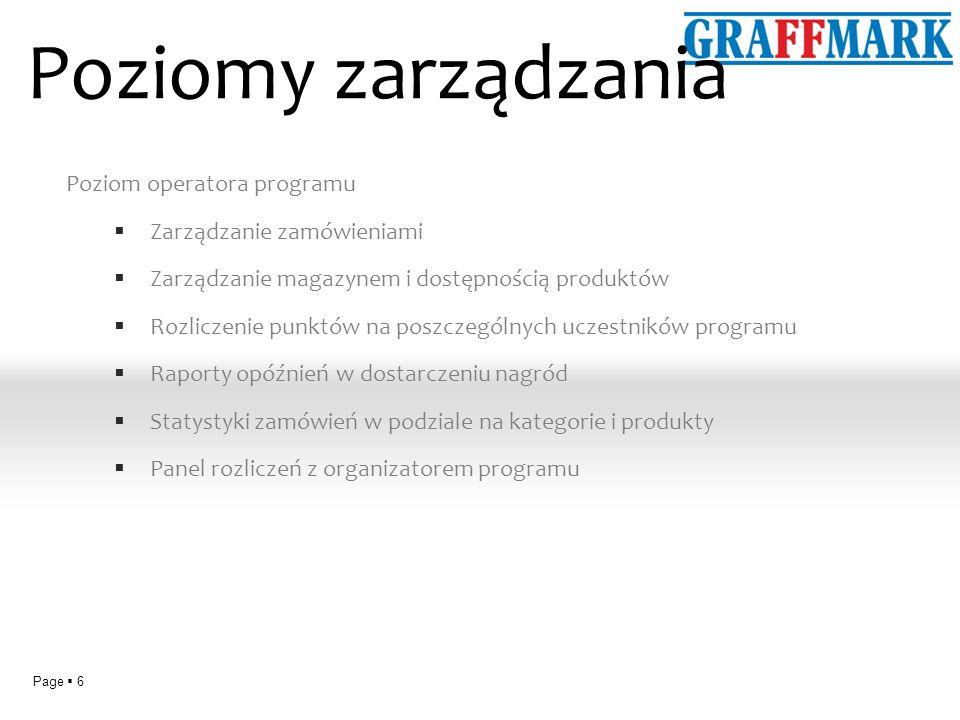 Page 6 Poziomy zarządzania Poziom operatora programu Zarządzanie zamówieniami Zarządzanie magazynem i dostępnością produktów Rozliczenie punktów na poszczególnych uczestników programu Raporty opóźnień w dostarczeniu nagród Statystyki zamówień w podziale na kategorie i produkty Panel rozliczeń z organizatorem programu