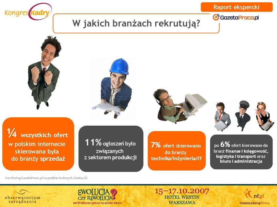 W jakich branżach rekrutują? Monitoring GazetaPraca.pl na podstawie danych Gemius SA ¼ wszystkich ofert w polskim internecie skierowana była do branży