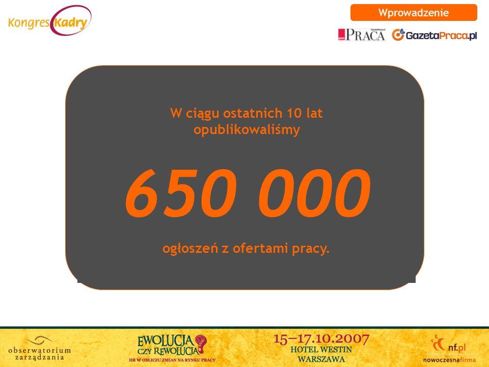W ciągu ostatnich 10 lat opublikowaliśmy 650 000 ogłoszeń z ofertami pracy. Wprowadzenie