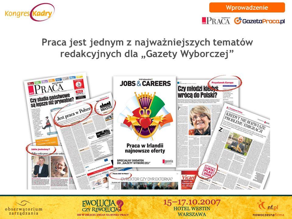 Praca jest jednym z najważniejszych tematów redakcyjnych dla Gazety Wyborczej