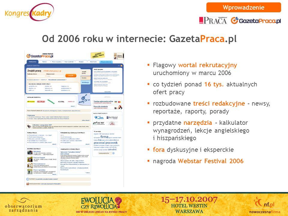 Od 2006 roku w internecie: GazetaPraca.pl Wprowadzenie Flagowy wortal rekrutacyjny uruchomiony w marcu 2006 co tydzień ponad 16 tys. aktualnych ofert