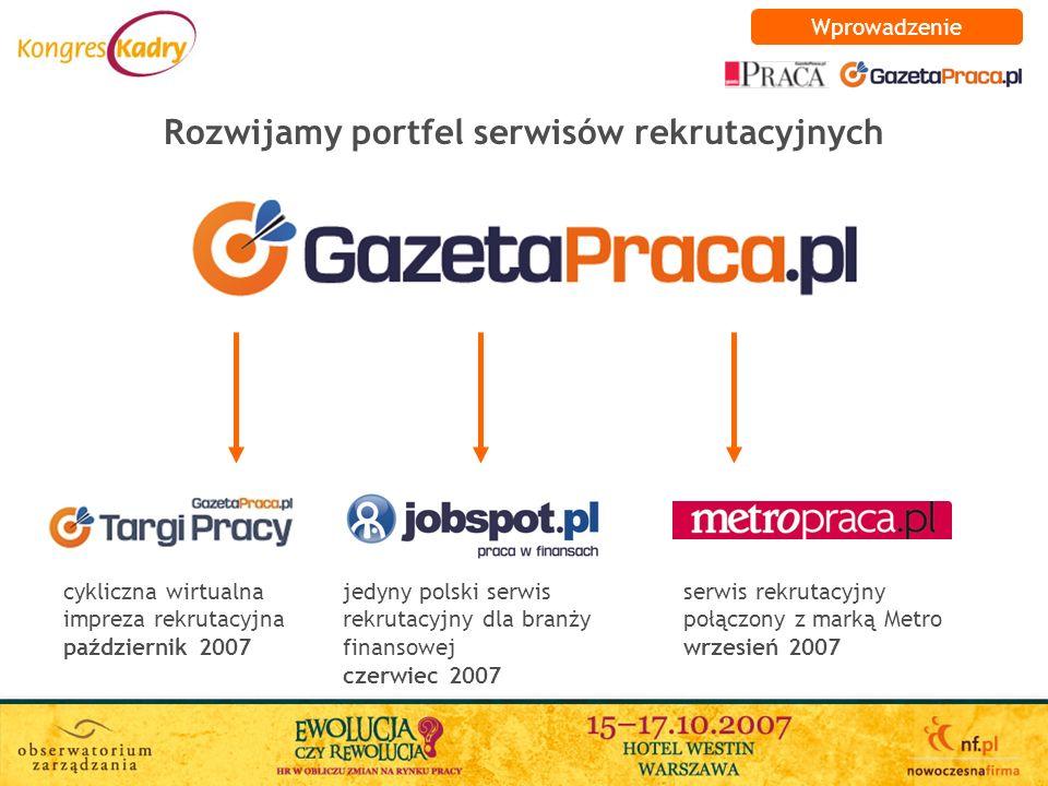 Rozwijamy portfel serwisów rekrutacyjnych jedyny polski serwis rekrutacyjny dla branży finansowej czerwiec 2007 serwis rekrutacyjny połączony z marką