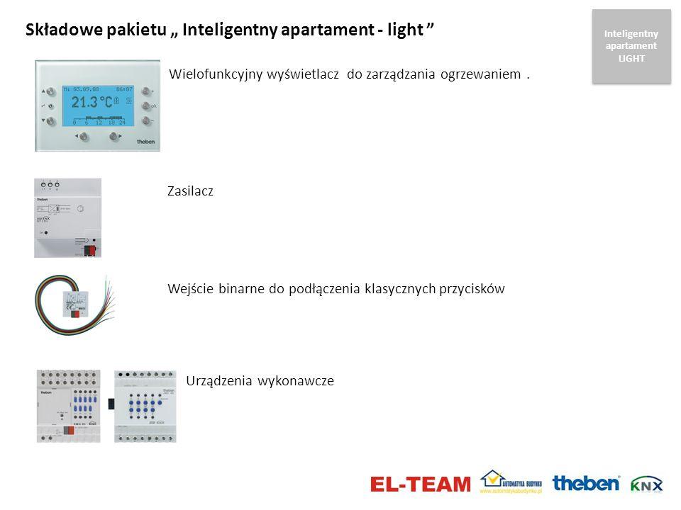 Składowe pakietu Inteligentny apartament - light Wielofunkcyjny wyświetlacz do zarządzania ogrzewaniem. Wejście binarne do podłączenia klasycznych prz