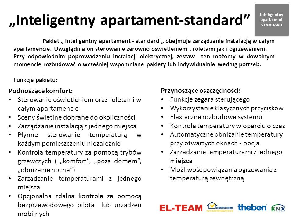 Inteligentny apartament-standard Pakiet Inteligentny apartament - standard obejmuje zarządzanie instalacją w całym apartamencie. Uwzględnia on sterowa