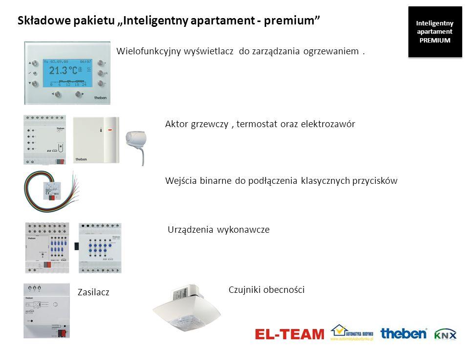 Składowe pakietu Inteligentny apartament - premium Wielofunkcyjny wyświetlacz do zarządzania ogrzewaniem. Zasilacz Aktor grzewczy, termostat oraz elek
