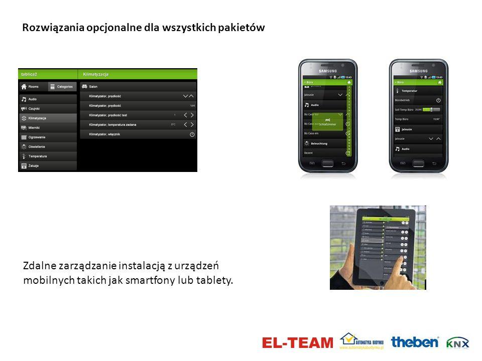 Rozwiązania opcjonalne dla wszystkich pakietów Zdalne zarządzanie instalacją z urządzeń mobilnych takich jak smartfony lub tablety.