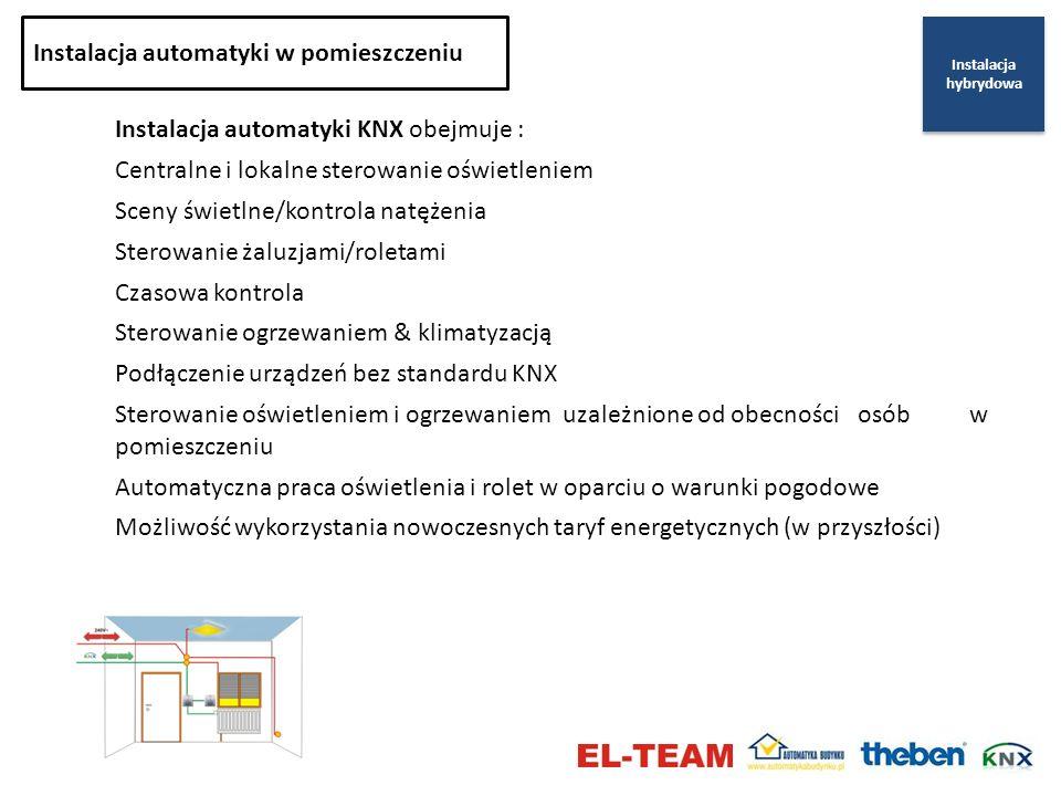 Instalacja automatyki KNX obejmuje : Centralne i lokalne sterowanie oświetleniem Sceny świetlne/kontrola natężenia Sterowanie żaluzjami/roletami Czaso