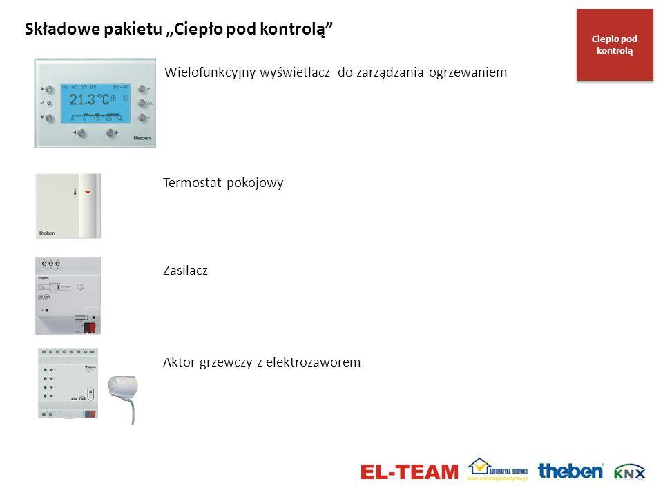 Składowe pakietu Ciepło pod kontrolą Wielofunkcyjny wyświetlacz do zarządzania ogrzewaniem Termostat pokojowy Zasilacz Aktor grzewczy z elektrozaworem