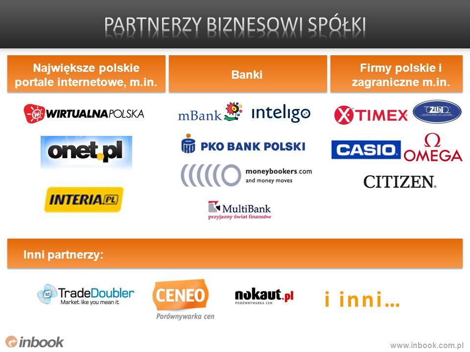 www.inbook.com.pl i inni… Największe polskie portale internetowe, m.in. Banki Firmy polskie i zagraniczne m.in. Inni partnerzy: