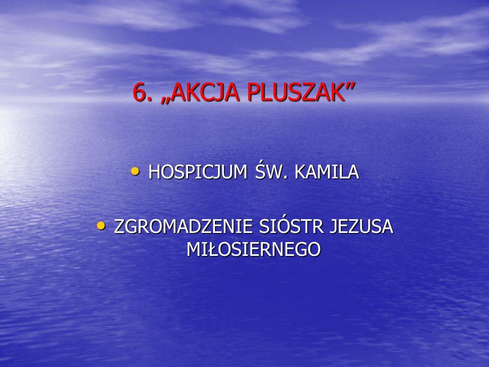 6. AKCJA PLUSZAK HOSPICJUM ŚW. KAMILA HOSPICJUM ŚW. KAMILA ZGROMADZENIE SIÓSTR JEZUSA MIŁOSIERNEGO ZGROMADZENIE SIÓSTR JEZUSA MIŁOSIERNEGO