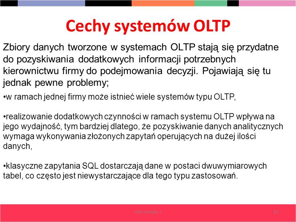 Cechy systemów OLTP informatyka +11 Zbiory danych tworzone w systemach OLTP stają się przydatne do pozyskiwania dodatkowych informacji potrzebnych kie