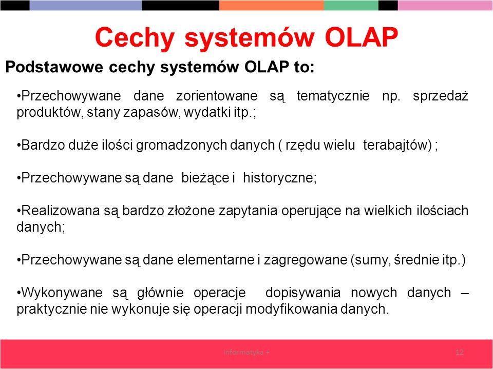 Cechy systemów OLAP informatyka +12 Podstawowe cechy systemów OLAP to: Przechowywane dane zorientowane są tematycznie np. sprzedaż produktów, stany za