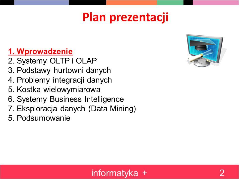 Plan prezentacji informatyka +2 1. Wprowadzenie 2. Systemy OLTP i OLAP 3. Podstawy hurtowni danych 4. Problemy integracji danych 5. Kostka wielowymiar
