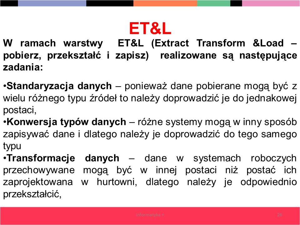 ET&L informatyka +26 Standaryzacja danych – ponieważ dane pobierane mogą być z wielu różnego typu źródeł to należy doprowadzić je do jednakowej postac