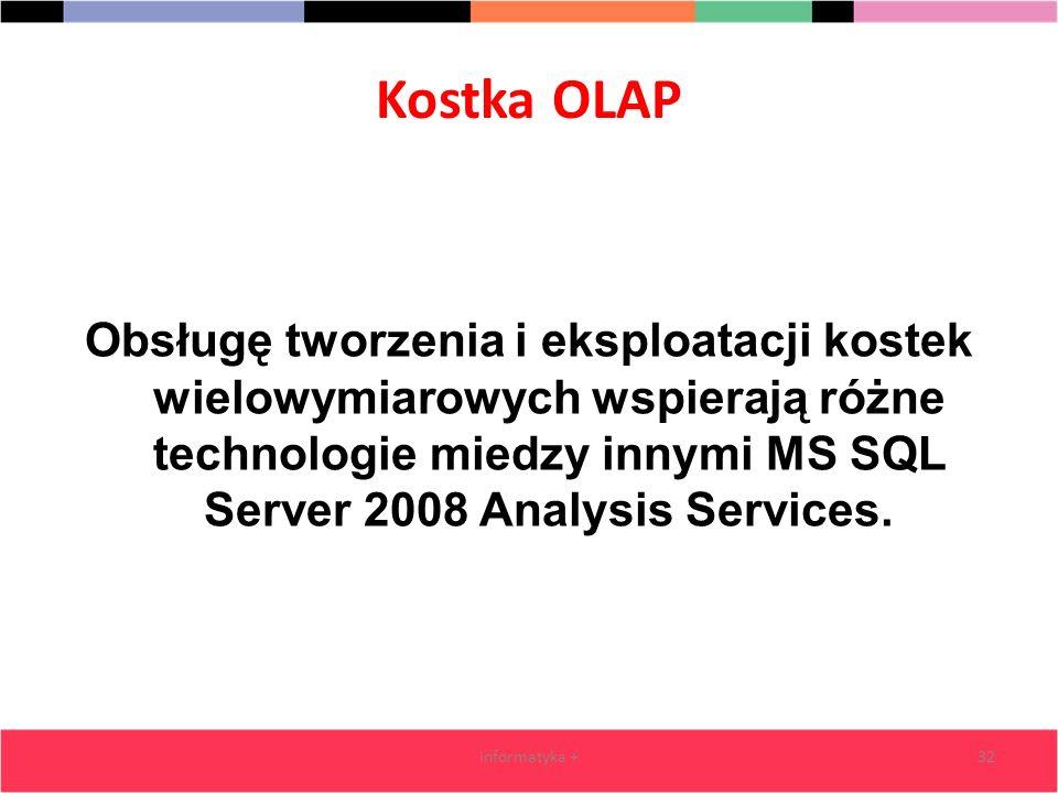 Kostka OLAP Obsługę tworzenia i eksploatacji kostek wielowymiarowych wspierają różne technologie miedzy innymi MS SQL Server 2008 Analysis Services. i