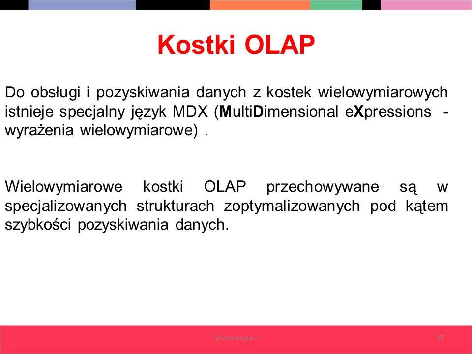 Kostki OLAP informatyka +35 Do obsługi i pozyskiwania danych z kostek wielowymiarowych istnieje specjalny język MDX (MultiDimensional eXpressions - wy