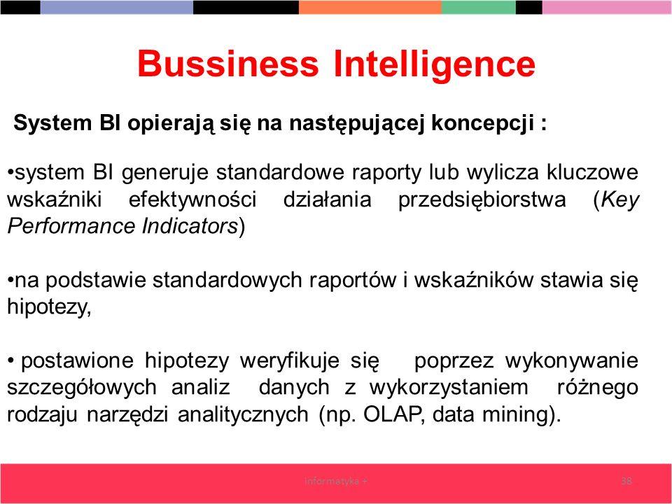 Bussiness Intelligence informatyka +38 system BI generuje standardowe raporty lub wylicza kluczowe wskaźniki efektywności działania przedsiębiorstwa (