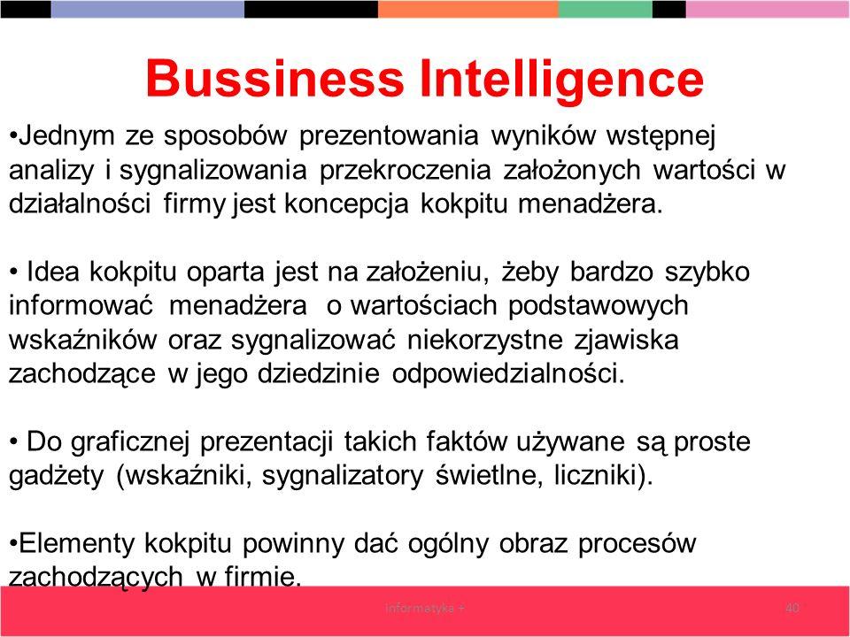 Bussiness Intelligence informatyka +40 Jednym ze sposobów prezentowania wyników wstępnej analizy i sygnalizowania przekroczenia założonych wartości w
