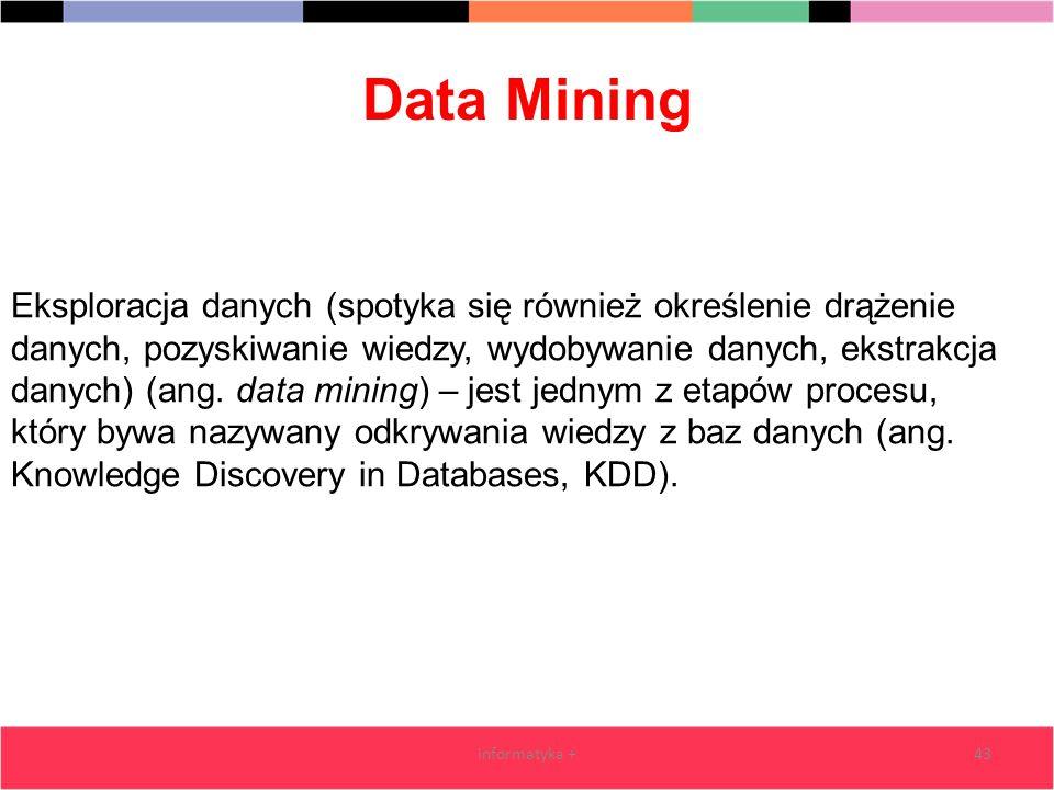 Data Mining informatyka +43 Eksploracja danych (spotyka się również określenie drążenie danych, pozyskiwanie wiedzy, wydobywanie danych, ekstrakcja da