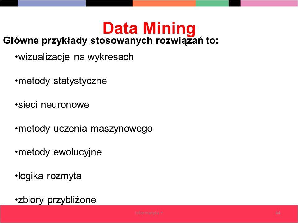 Data Mining informatyka +44 wizualizacje na wykresach metody statystyczne sieci neuronowe metody uczenia maszynowego metody ewolucyjne logika rozmyta