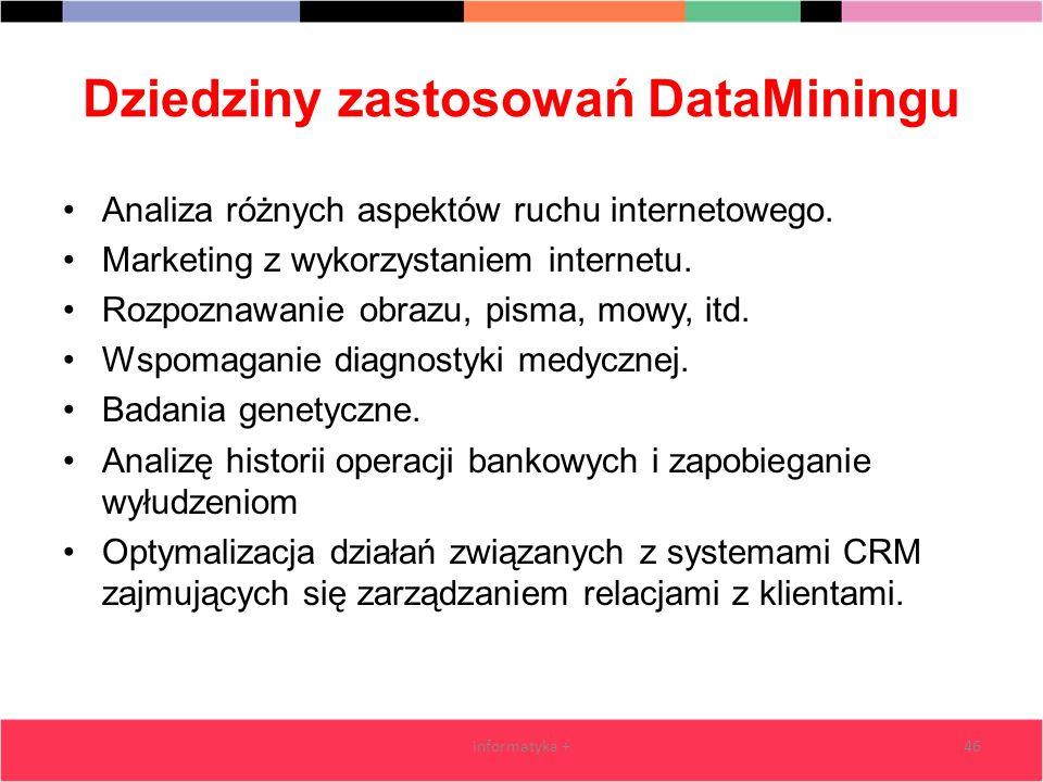 Dziedziny zastosowań DataMiningu Analiza różnych aspektów ruchu internetowego. Marketing z wykorzystaniem internetu. Rozpoznawanie obrazu, pisma, mowy