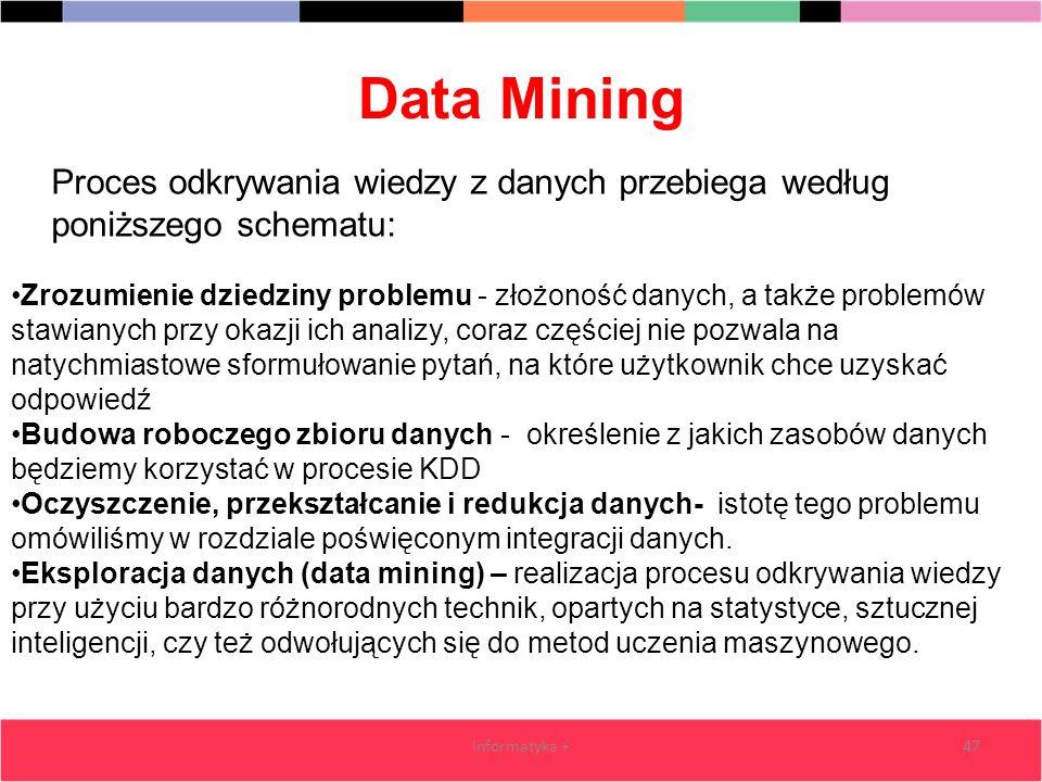 Data Mining informatyka +47 Zrozumienie dziedziny problemu - złożoność danych, a także problemów stawianych przy okazji ich analizy, coraz częściej ni