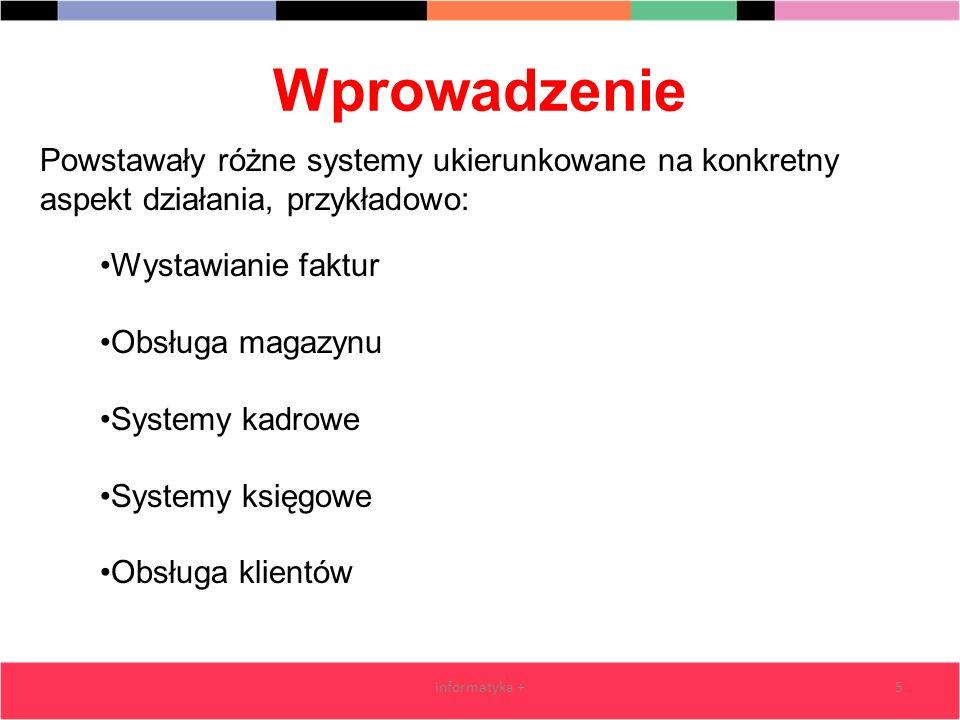 Wprowadzenie informatyka +5 Wystawianie faktur Obsługa magazynu Systemy kadrowe Systemy księgowe Obsługa klientów Powstawały różne systemy ukierunkowa