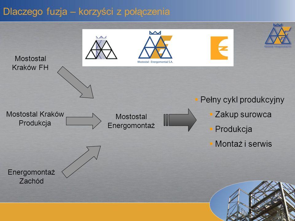 Dywersyfikacja przychodów Możliwość startu w przetargach na generalne wykonawstwo Wyższa efektywność Większa marża Większy potencjał rozwoju Korzystniejsze warunki finansowania Większa wiarygodność Mostostal-Energomontaż Mostostal-Energomontaż Kompletna oferta Większy potencjał finansowy Pełniejsze wykorzystanie zasobów
