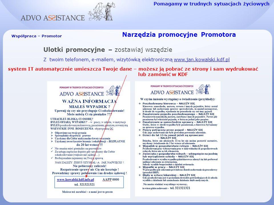Narzędzia promocyjne Promotora Ulotki promocyjne – zostawiaj wszędzie Z twoim telefonem, e-mailem, wizytówką elektroniczną www.jan.kowalski.kdf.plwww.