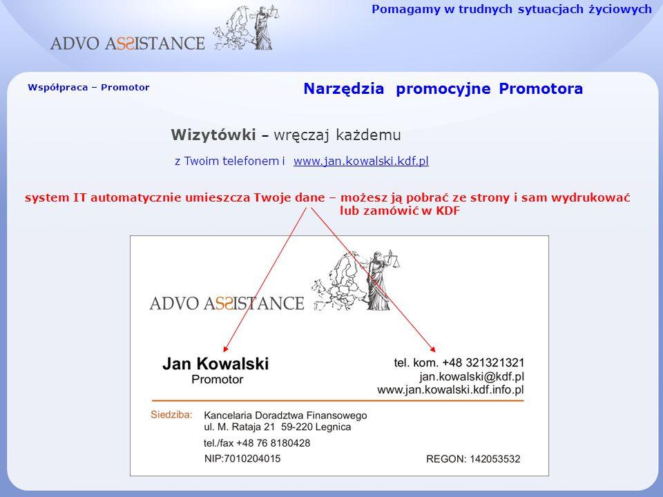 Narzędzia promocyjne Promotora Wizytówki – wręczaj każdemu z Twoim telefonem i www.jan.kowalski.kdf.plwww.jan.kowalski.kdf.pl Pomagamy w trudnych sytuacjach życiowych Współpraca – Promotor system IT automatycznie umieszcza Twoje dane – możesz ją pobrać ze strony i sam wydrukować lub zamówić w KDF