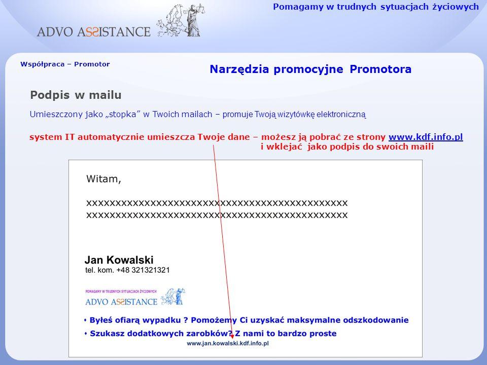 Narzędzia promocyjne Promotora Podpis w mailu Umieszczony jako stopka w Twoi ch mail ach – promuje Twoją wizytówkę elektroniczną Pomagamy w trudnych sytuacjach życiowych Współpraca – Promotor system IT automatycznie umieszcza Twoje dane – możesz ją pobrać ze strony www.kdf.info.plwww.kdf.info.pl i wklejać jako podpis do swoich maili