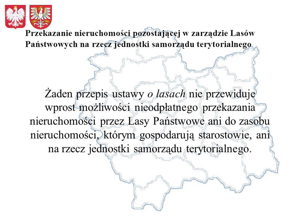 Przekazanie nieruchomości pozostającej w zarządzie Lasów Państwowych na rzecz jednostki samorządu terytorialnego Żaden przepis ustawy o lasach nie prz