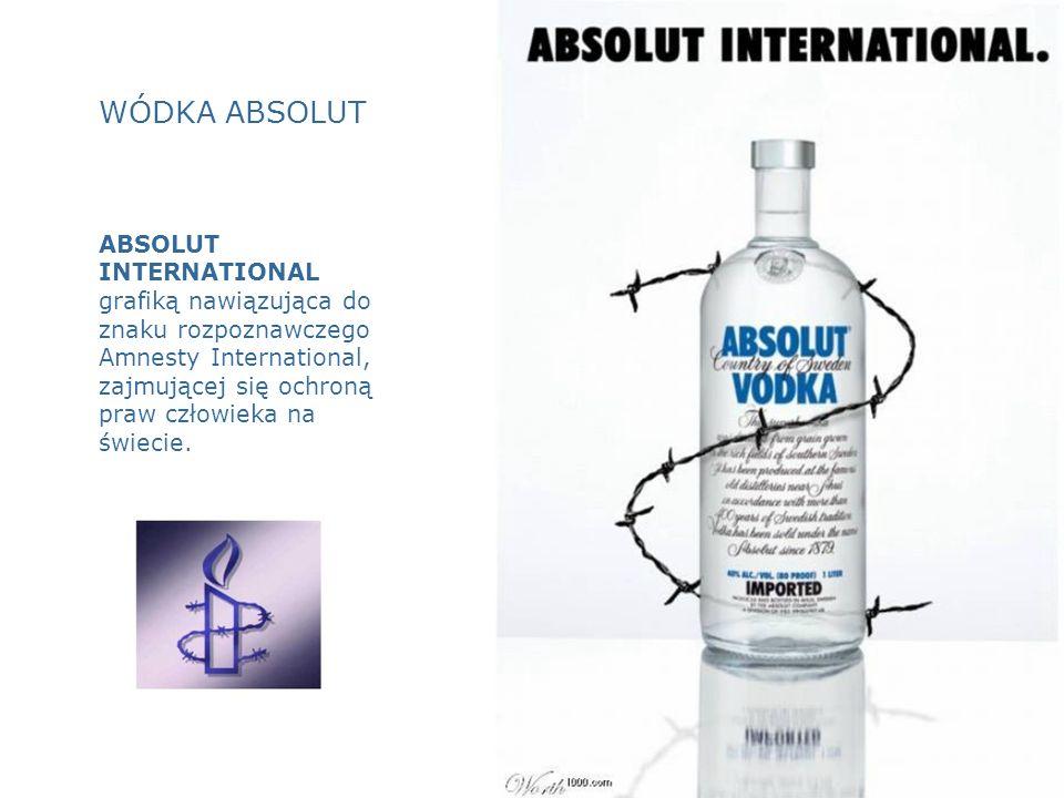 WÓDKA ABSOLUT ABSOLUT INTERNATIONAL grafiką nawiązująca do znaku rozpoznawczego Amnesty International, zajmującej się ochroną praw człowieka na świecie.