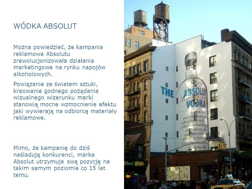 WÓDKA ABSOLUT Można powiedzieć, że kampania reklamowa Absolutu zrewolucjonizowała działania marketingowe na rynku napojów alkoholowych.