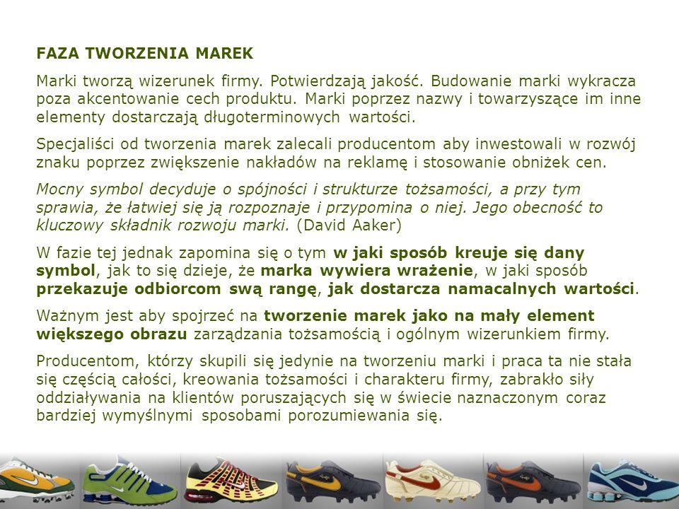 FAZA TWORZENIA MAREK Marki tworzą wizerunek firmy.