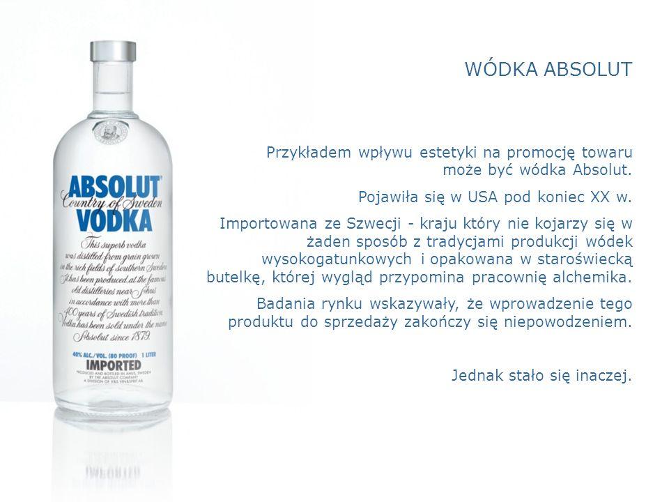 WÓDKA ABSOLUT Przykładem wpływu estetyki na promocję towaru może być wódka Absolut.