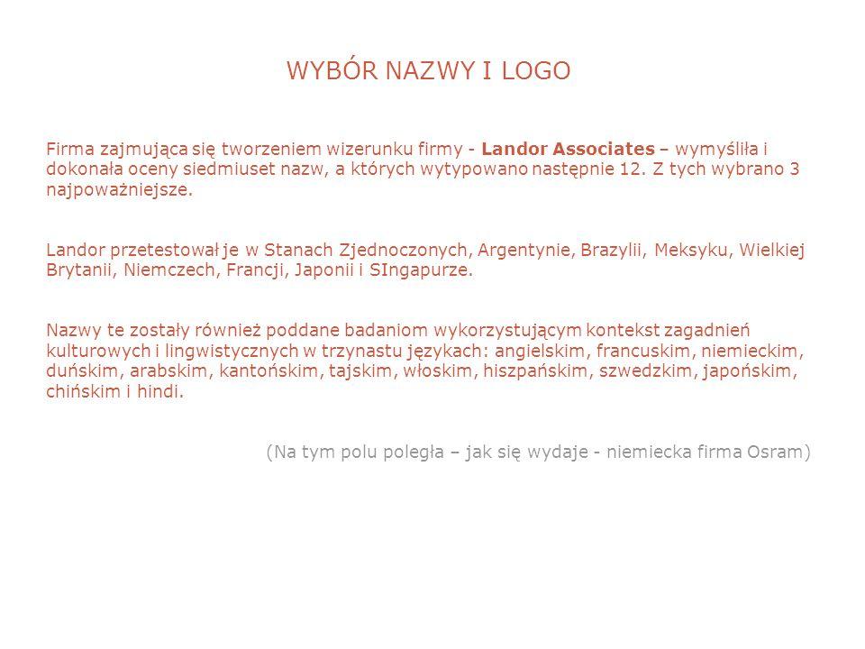 WYBÓR NAZWY I LOGO Firma zajmująca się tworzeniem wizerunku firmy - Landor Associates – wymyśliła i dokonała oceny siedmiuset nazw, a których wytypowano następnie 12.