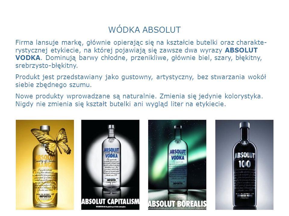 WÓDKA ABSOLUT Firma lansuje markę, głównie opierając się na kształcie butelki oraz charakte- rystycznej etykiecie, na której pojawiają się zawsze dwa wyrazy ABSOLUT VODKA.