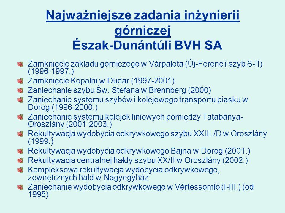 Zamknięcie zakładu górniczego w Várpalota (Új-Ferenc i szyb S-II) (1996-1997.) Zamknięcie Kopalni w Dudar (1997-2001) Zaniechanie szybu Św.