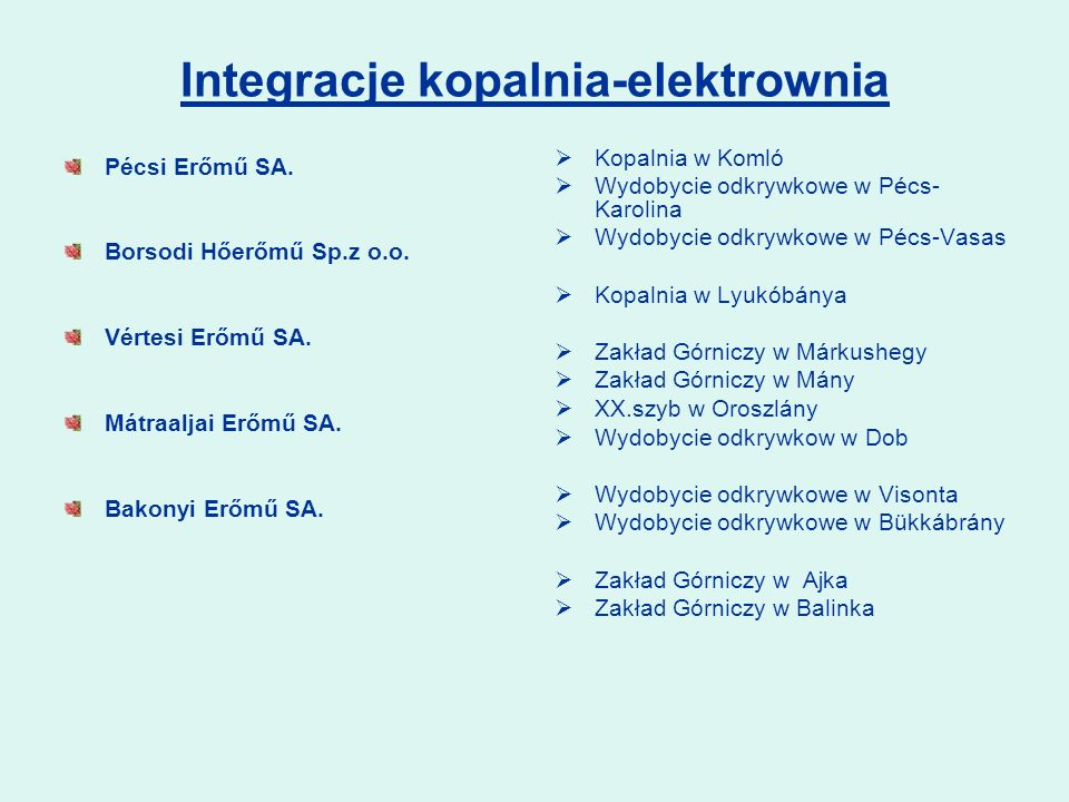Integracje kopalnia-elektrownia Pécsi Erőmű SA.Borsodi Hőerőmű Sp.z o.o.