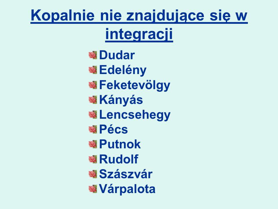 Kopalnie nie znajdujące się w integracji Dudar Edelény Feketevölgy Kányás Lencsehegy Pécs Putnok Rudolf Szászvár Várpalota