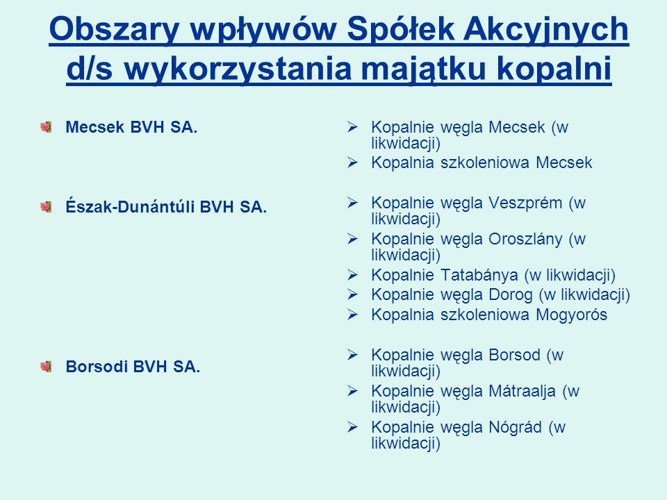 Obszary wpływów Spółek Akcyjnych d/s wykorzystania majątku kopalni Mecsek BVH SA. Észak-Dunántúli BVH SA. Borsodi BVH SA. Kopalnie węgla Mecsek (w lik