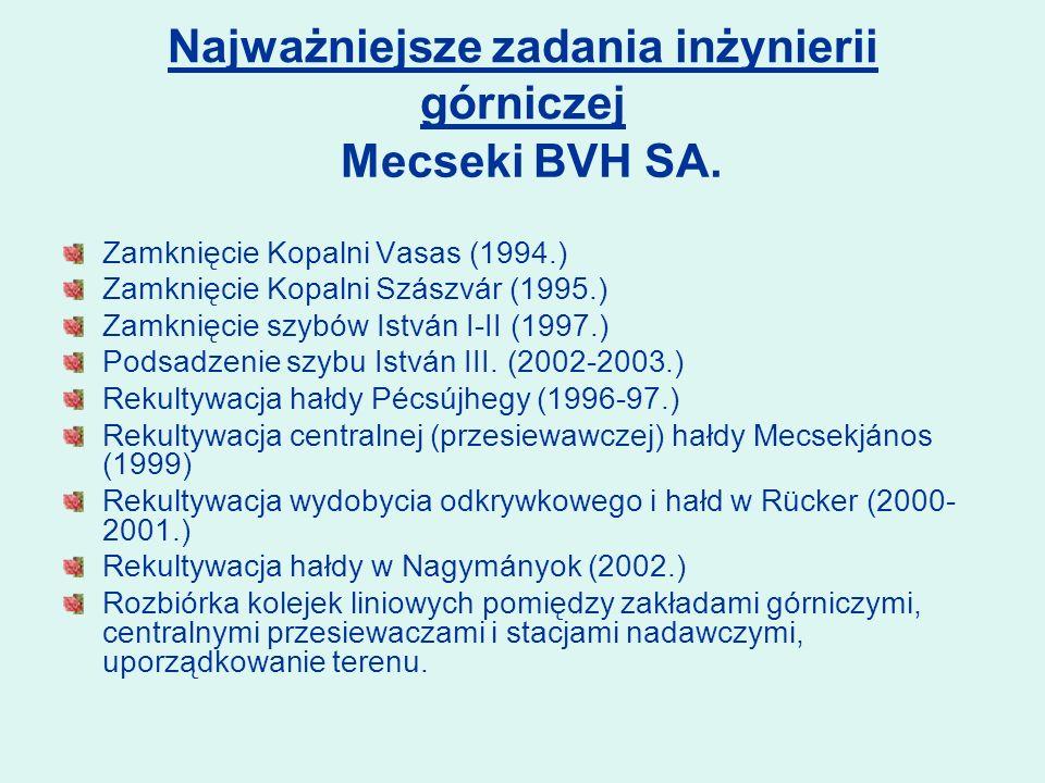 Najważniejsze zadania inżynierii górniczej Zamknięcie Kopalni Vasas (1994.) Zamknięcie Kopalni Szászvár (1995.) Zamknięcie szybów István I-II (1997.) Podsadzenie szybu István III.