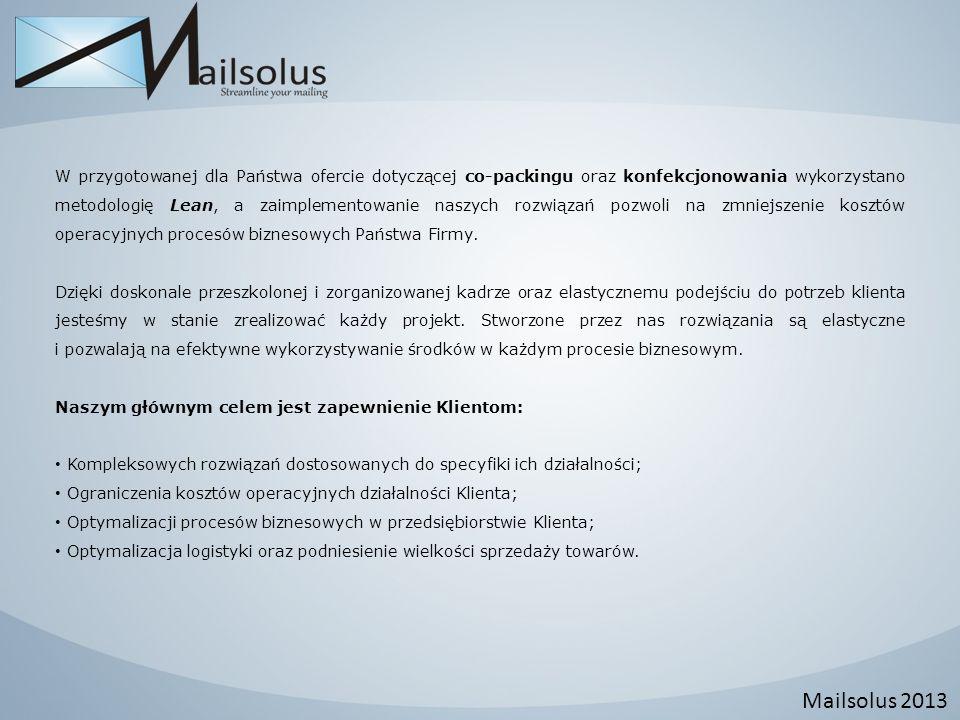 Mailsolus 2013 W przygotowanej dla Państwa ofercie dotyczącej co-packingu oraz konfekcjonowania wykorzystano metodologię Lean, a zaimplementowanie nas