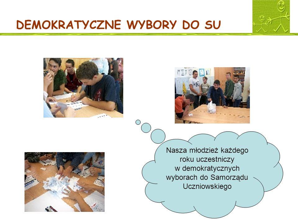 DEMOKRATYCZNE WYBORY DO SU Nasza młodzież każdego roku uczestniczy w demokratycznych wyborach do Samorządu Uczniowskiego