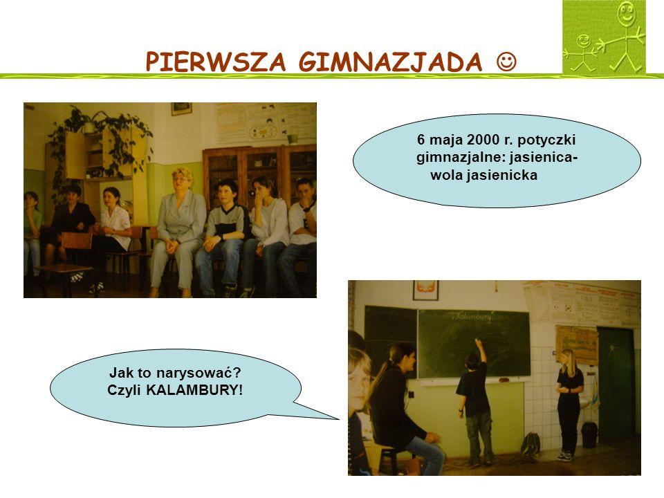 PIERWSZA GIMNAZJADA 6 maja 2000 r. potyczki gimnazjalne: jasienica- wola jasienicka Jak to narysować? Czyli KALAMBURY!