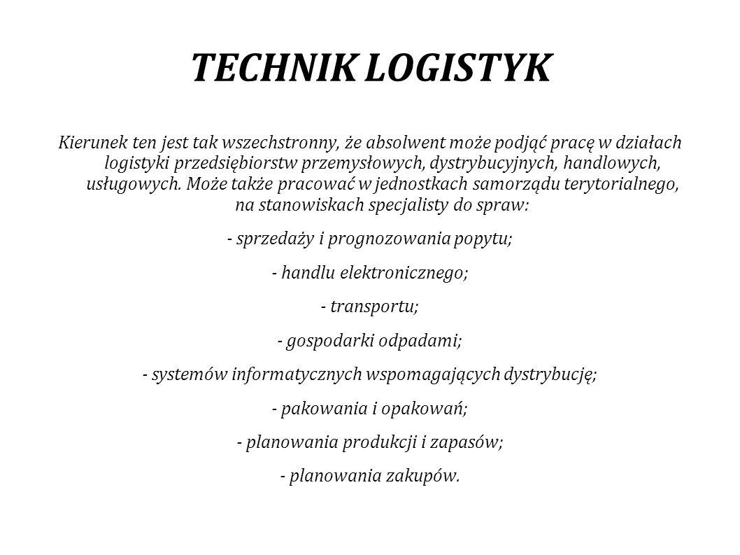 TECHNIK LOGISTYK Praca logistyka, to również tworzenie projektów.