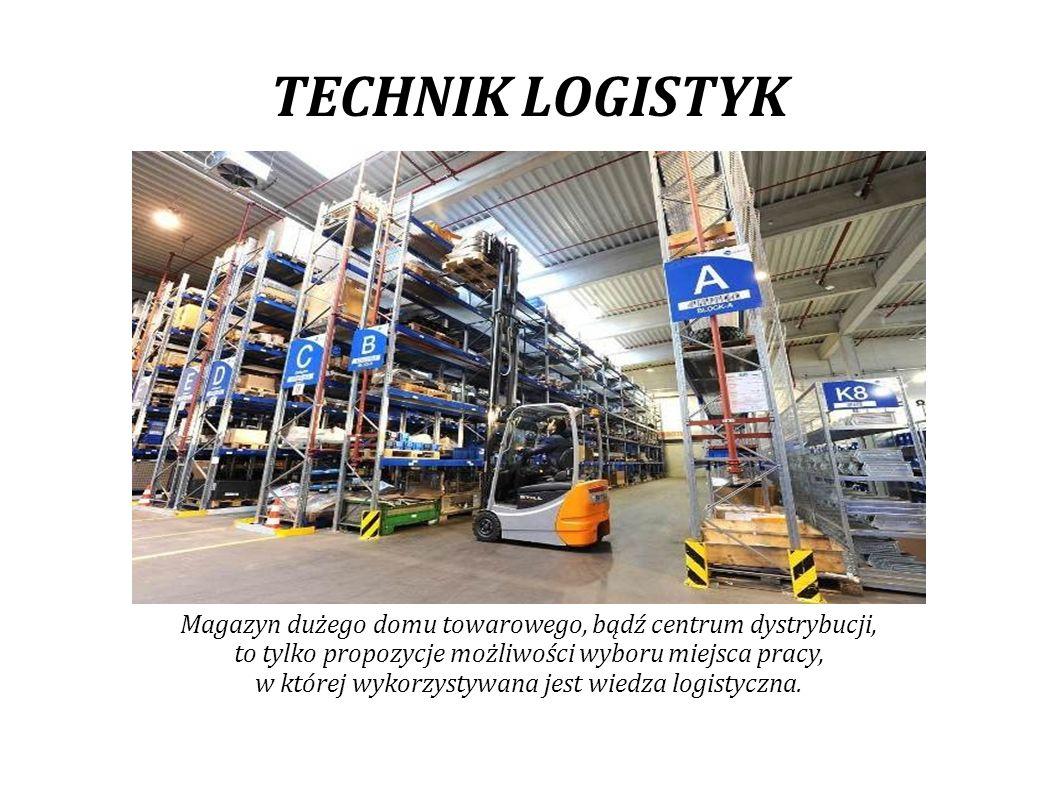 TECHNIK LOGISTYK Logistyk podczas pracy – w centrum dystrybucji.