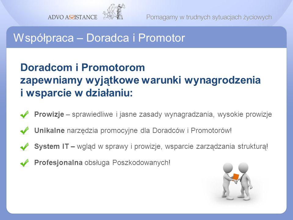 Współpraca – Doradca i Promotor Profesjonalna obsługa Poszkodowanych! Unikalne narzędzia promocyjne dla Doradców i Promotorów! System IT – wgląd w spr