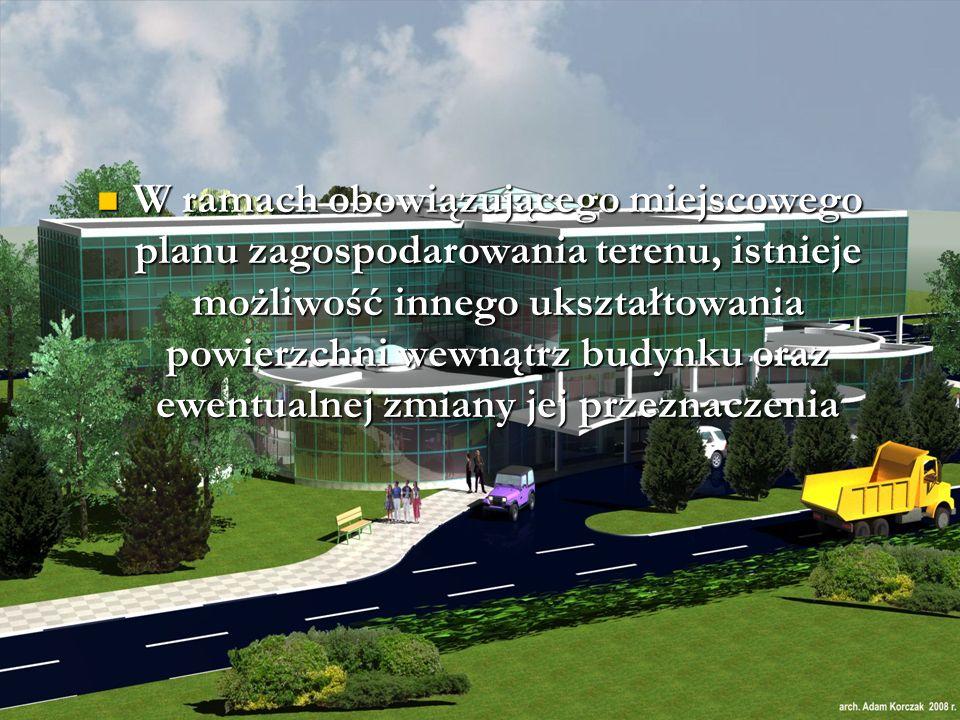 W ramach obowiązującego miejscowego planu zagospodarowania terenu, istnieje możliwość innego ukształtowania powierzchni wewnątrz budynku oraz ewentualnej zmiany jej przeznaczenia W ramach obowiązującego miejscowego planu zagospodarowania terenu, istnieje możliwość innego ukształtowania powierzchni wewnątrz budynku oraz ewentualnej zmiany jej przeznaczenia
